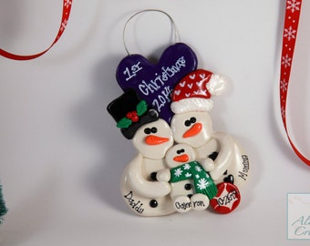 "Snowman Family Ornament - ""Our First Christmas"""