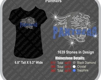 Panthers Rhinestone T-Shirt, Tank or Hoodie