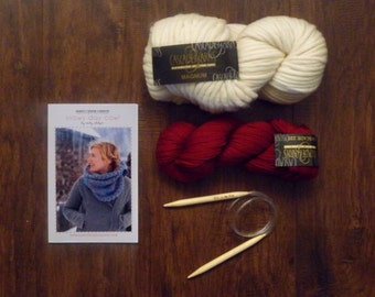 Snowy Day Cowl-Ivory and Red