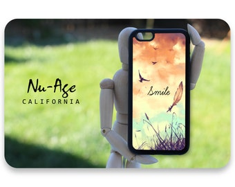 Lovely IPhone 6 Quote Case Vintage Iphone 5/5s Inspirational Saying Cover Feather Birds Smile Be Free New Girly iPhone 6 Cover Smile iPhone