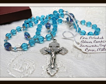 Beautiful Aqua Rosary with Lampwork Beads