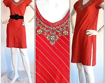Red Vintage Biba Dress / Vintage Tunic Metallic Stripes & Flowers / CHIC Beach Cover-Up / Boho Hippie Flower Child Dress