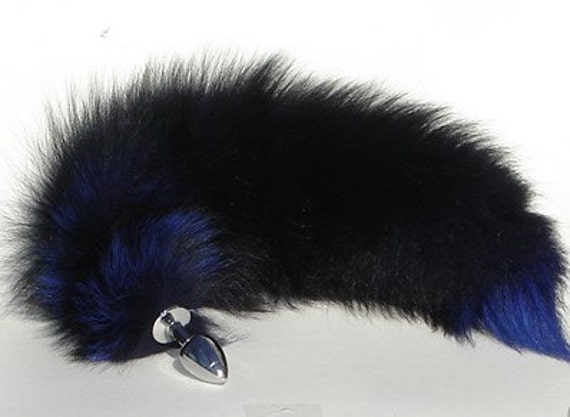 "Butt Plug Tail Sex Toy BDSM 17"" ELECTRIC BLUE Fox Tail Butt Plug Anal Plug Tail Sex Toys bdsm Toys Cosplay Foxtail Pet Play Tail Wolf Tail"