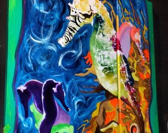 """Diptych Acrylic """"Seahorse"""" Painting-- ORIGINAL"""