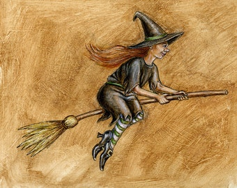 WITCH art PRINT signed by artist Nicole Troup, Halloween art print, witch painting, Halloween painting, witch on broomstick, kids room decor
