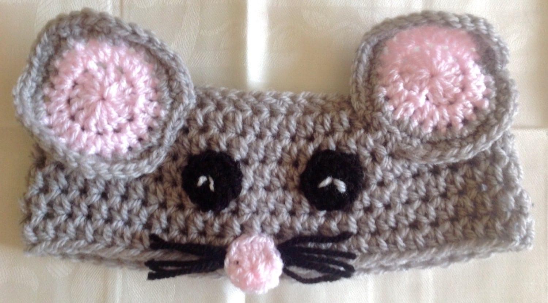 Cute crochet mouse animal earwarmer/headband by ...