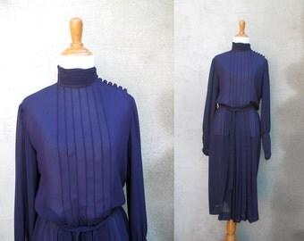 Vintage Late 80s | Purple Sheer Crepe Pleated Dress