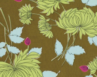 Amy Butler Belle Limited Quantity - Chrysanthemum in Olive PWAB115.OLIVE 1 Yard, Large Floral