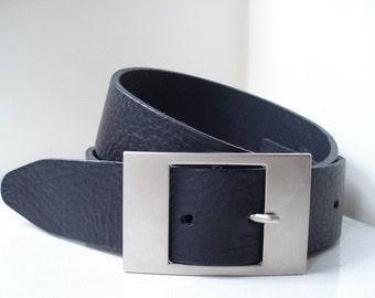 Mens Black Leather Belt - Handmade In UK - Black Jeans Belt - Large Buckle - Mens Belt
