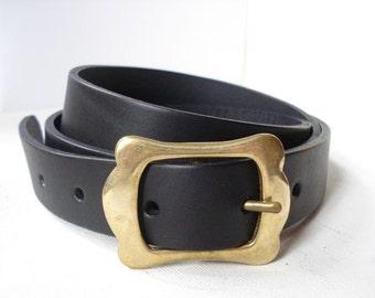Thin Black Leather Belt - Handmade in London - Feminin Brass Buckle