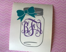 Mason Jar Monogram Vinyl Decal - Choose your size and color combination!