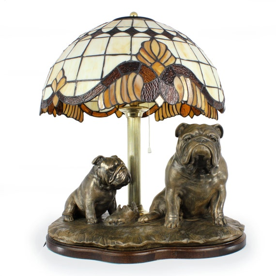 English Bulldog dog lamp statue tiffany shade limited