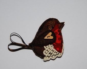 Textile Robin Brooch, fabric brooch, robin, pin, badge, statement jewellery