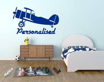 Personalised Aeroplane/Airplane. Vinyl wall art decal sticker quote. Any colour and size.(#123)