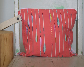Wet Bag, Glittery Pink and Mint Arrows and Dots - Waterproof Wetbag Swimsuit bag Nappy Bag Procare Liner Tribal