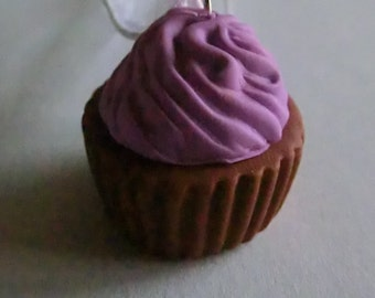 Handcrafted Fimo Purple Icing Cupcake Necklace