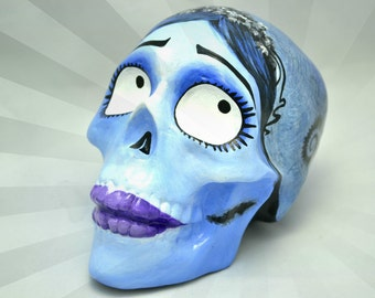 Unique Handmade Emily Corpse Bride Jack Skellington Nightmare Before Christmas Day of the Dead Ceramic Sugar Skull MADE TO ORDER