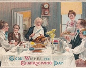 1909 Signed Veentliet Thanksgiving Day Postcard Family Feast Embossed,Unused