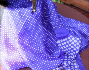 Blue Pure Silk Scarf with White Polka Dots - Free shipping in US
