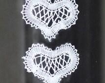 Russian bobbin lace hearts