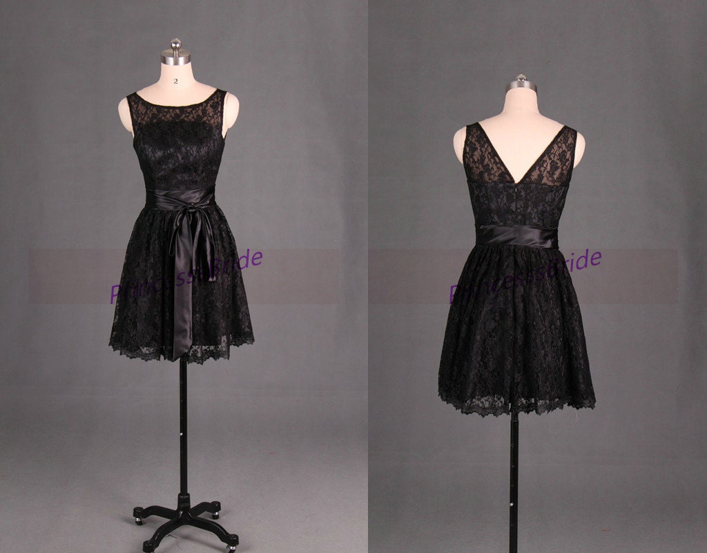 Latest short black lace bridesmaid dress hotcute women