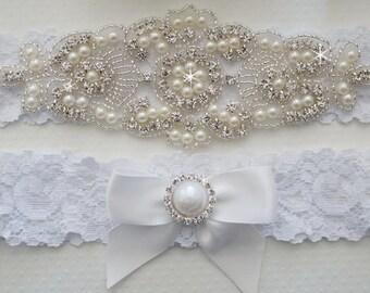 Wedding Garter Set, Bridal Garter, White Lace Garter, Vintage Lace Garter - Style L225