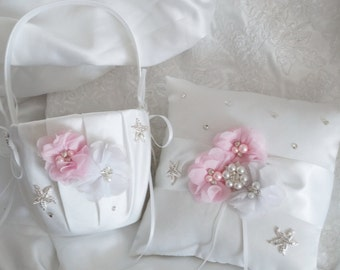 Flower Girl Basket, Ring Bearer Pillow, Wedding Basket and Pillow Set, Beach Wedding - Style 375