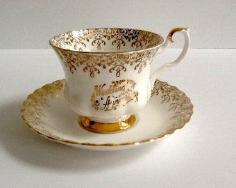 Royal Albert Tea Cup, Gold Chintz, Anniversary Tea Cup, Made in England