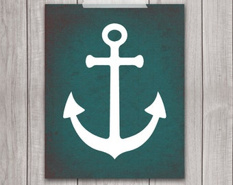 75% OFF SALE - Nautical Anchor Art - 8x10 Nursery Art, Nursery Decor, Nautical Decor, Nautical Nursery, Anchor Decor, Baby Boy