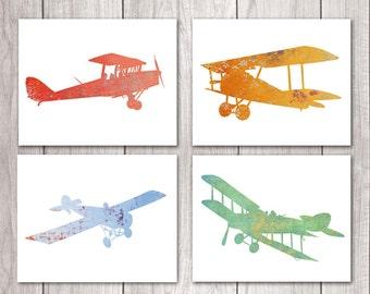 75% OFF SALE Airplane Nursery Wall Art (Set of Four 8x10s) Nursery Decor, Plane Nursery, Airplane Prints, Printable Nursery, Printable Art