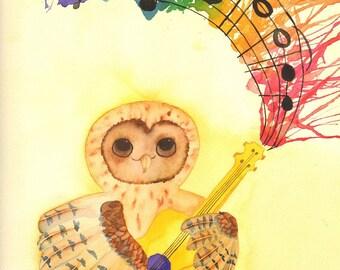Guitar Playing Owl Watercolor Print