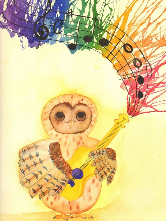 owl playing the guitar - photo #10