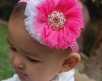 Pink and white headband, newborn headband, baby headband, girls headband