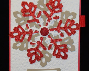 Large Embossed/Glitter Snowflake Christmas Card