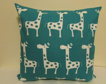 Child Turquoise Decorative Pillow Cover, Kids Turquoise Giraffe  Pillow Cover, Nursery Pillow Cover