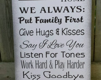 In Firefighters Home wood sign - Family Rules