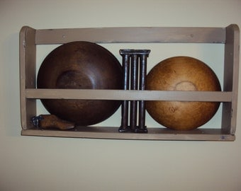 Handmade Primitive Bowl Shelf Rack in Your Choice of Color and Finish