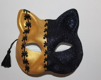 Cat mask half gold with black glitter designs and half black glitter