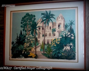 Art deco lithograph Denis Paul Noyer Certified lithograph LISTED ARTIST Signed, Numbered 1981 Limited Edition Lithogragh Mansion art print