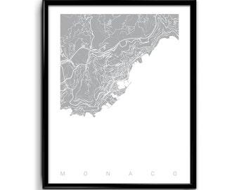 Monaco Map Art / Monaco Print Art / Monaco Poster Wall Art / Line Art / Choose Size and Color