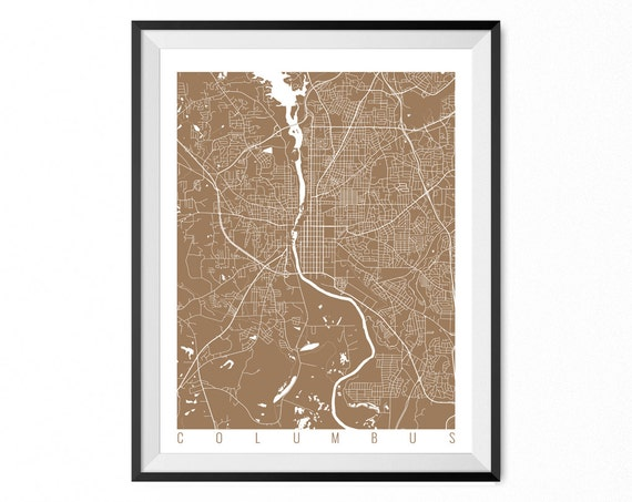Columbus Map Art Print Georgia Poster Columbus Wall Art