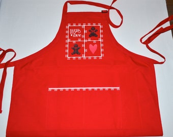 Red Apron, Grandma's apron, Gingerbread Man Apron