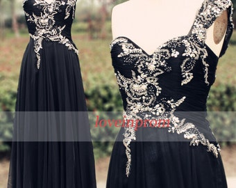 Black evening dress,black long prom dress,handmade beading chiffon formal dress,long black party dress/bridesmaid dress