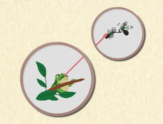 Frog and Mosquitos , Counted Cross stitch, Pattern PDF, Cross Stitch Chart , Cute Cross Stitch, Cross stitch pattern, pixel art, 0210