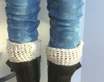 Cuffs, Beige Boot Socks, Cream Boot Toppers, One Size Fits All winter accessories, leg warmers