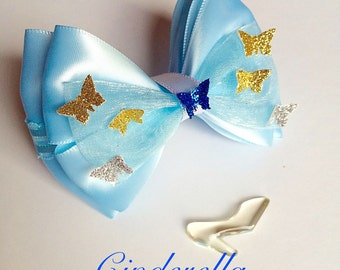 Cinderella inspired hair bow - Princess Cinderella hair clip
