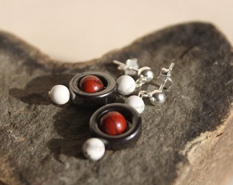 Hematite, Howlite and Red Jasper Earrings - Shipping Included