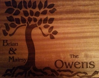 Wedding Engraved Cutting Boards - Tree Arts n Crafts style