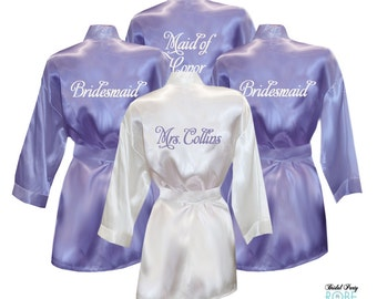 Set of 5 Personalized Satin Robes with Embroidery on Back - Bridal Party Robes, Bridesmaid Robes, bride robe, satin robe, getting ready robe