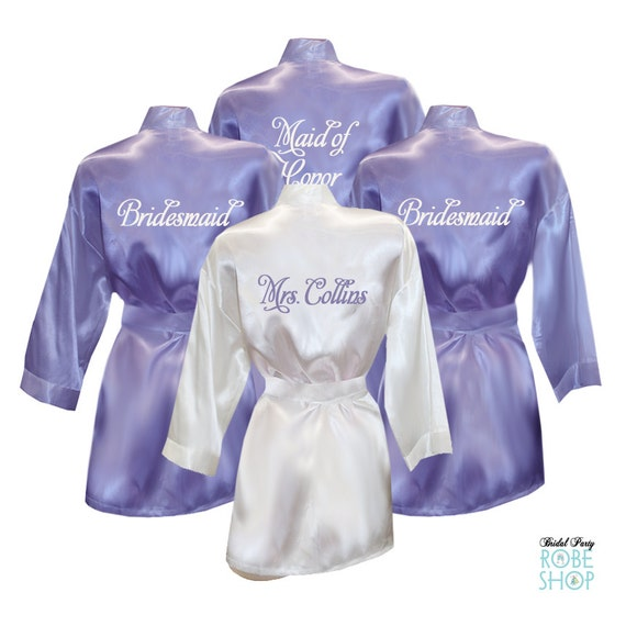 set of 6 personalized satin robes with embroidery on back